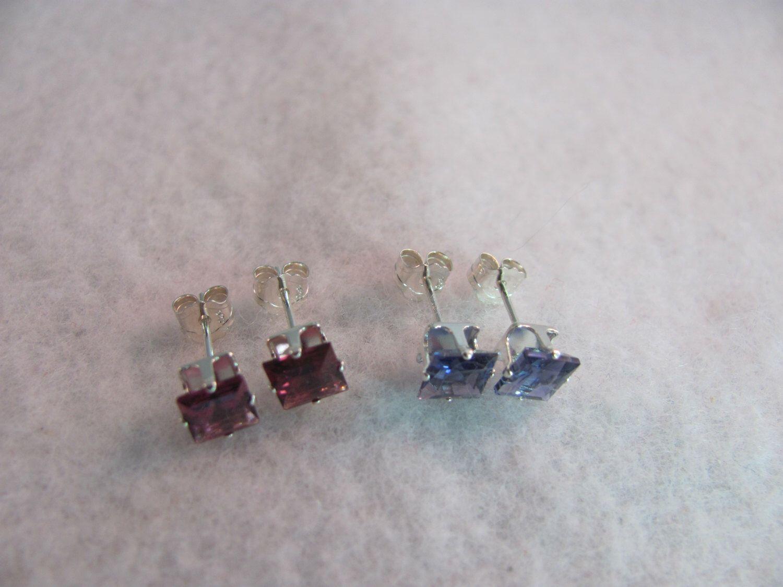 AAA Quality Genuine Mercury Mist Topaz/Rhodolite Garnet or Iolite Natural Gemstones Stud Earrings 5mm Square Solid 925 SS by Laineys4u on Etsy https://www.etsy.com/listing/224091685/aaa-quality-genuine-mercury-mist