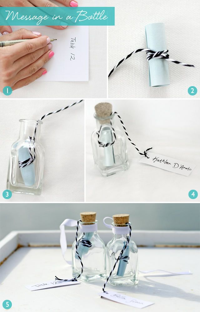 DIY message in a bottle escort cards with a personal message for each guest