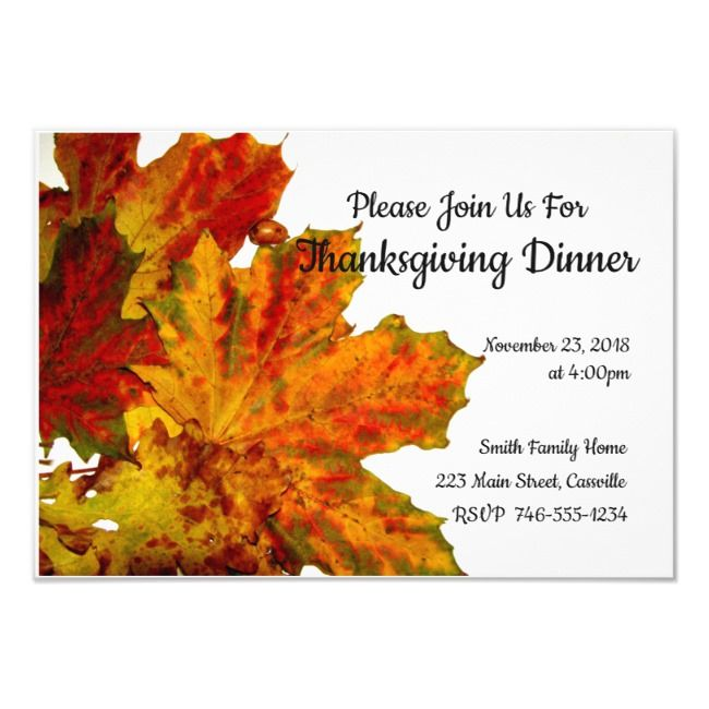 Thanksgiving Dinner Party Invitation Autumn Leaves