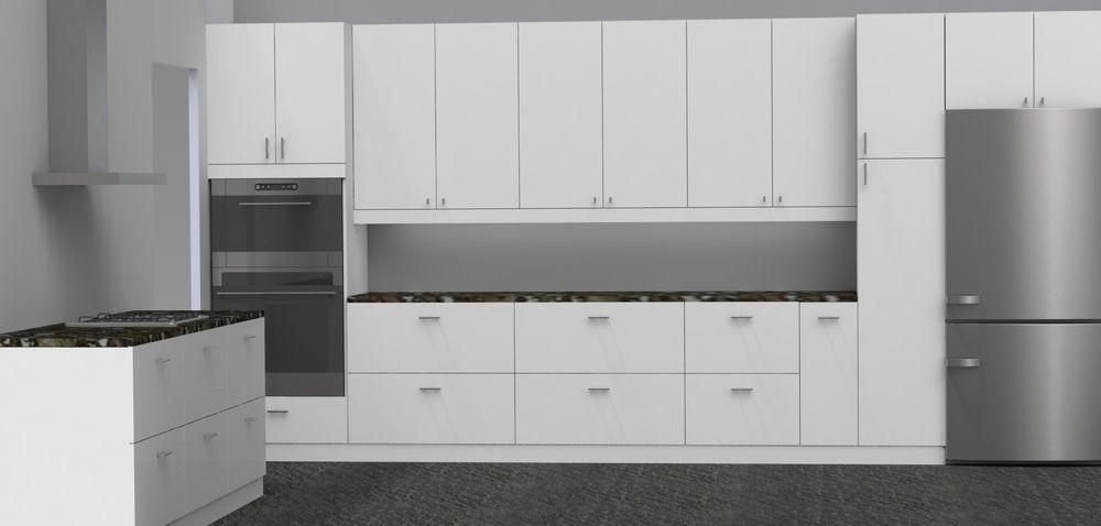 Image Result For White Slab Door Kitchen Cabinets Slab Door