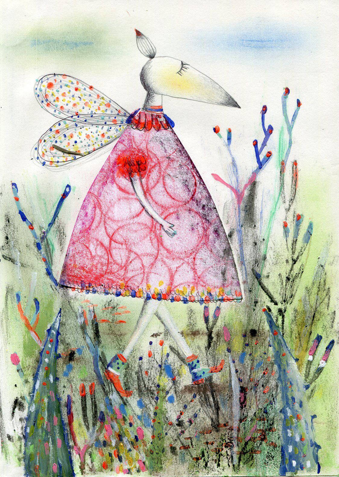 De paseo. Frottage y collage sobre papel ©MirellaMusri