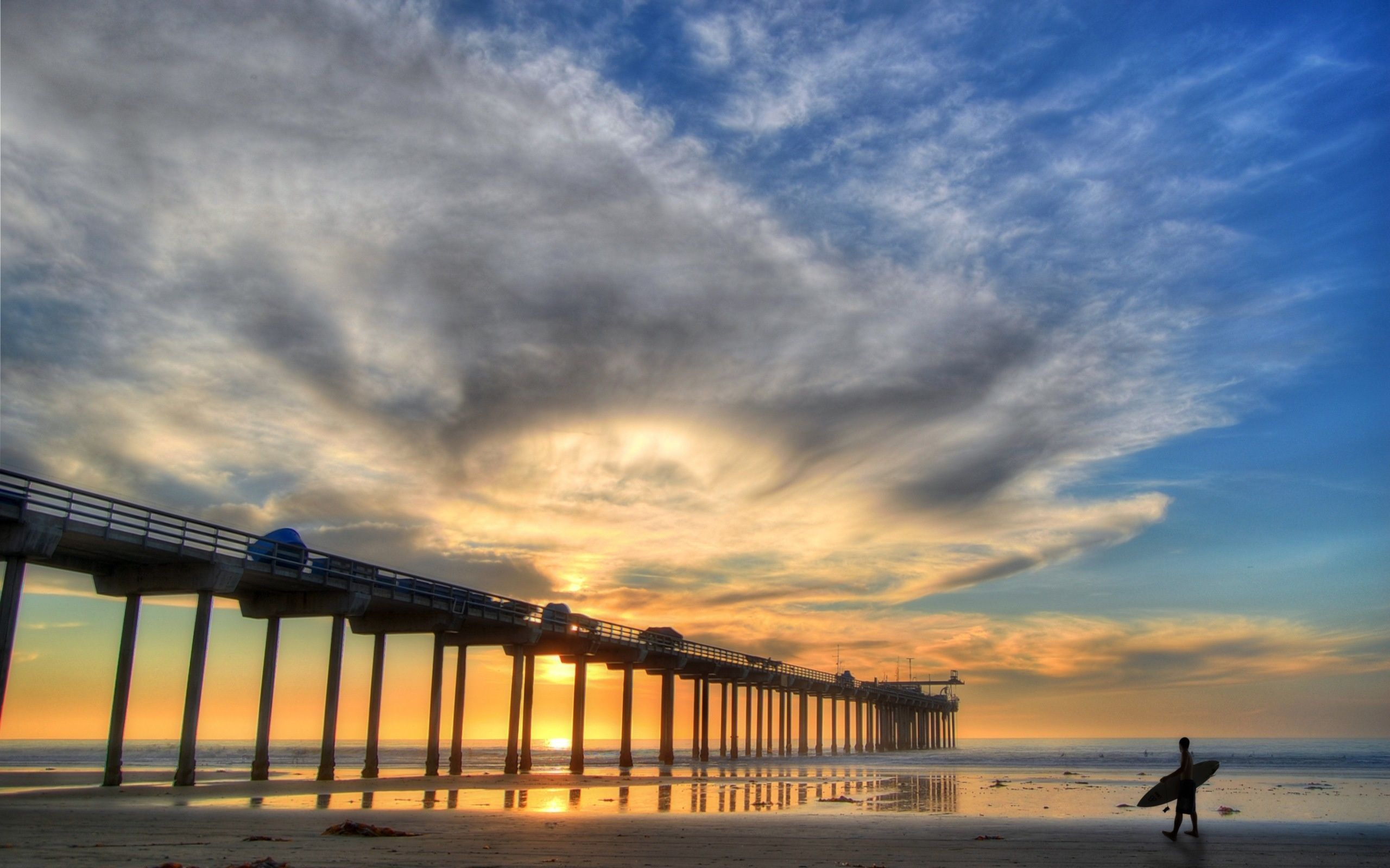 Surfer And Pier At Sunrise Wallpaper