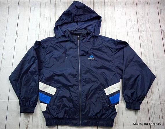 Adidas Vintage capuche coupe vent veste, moyen pour homme
