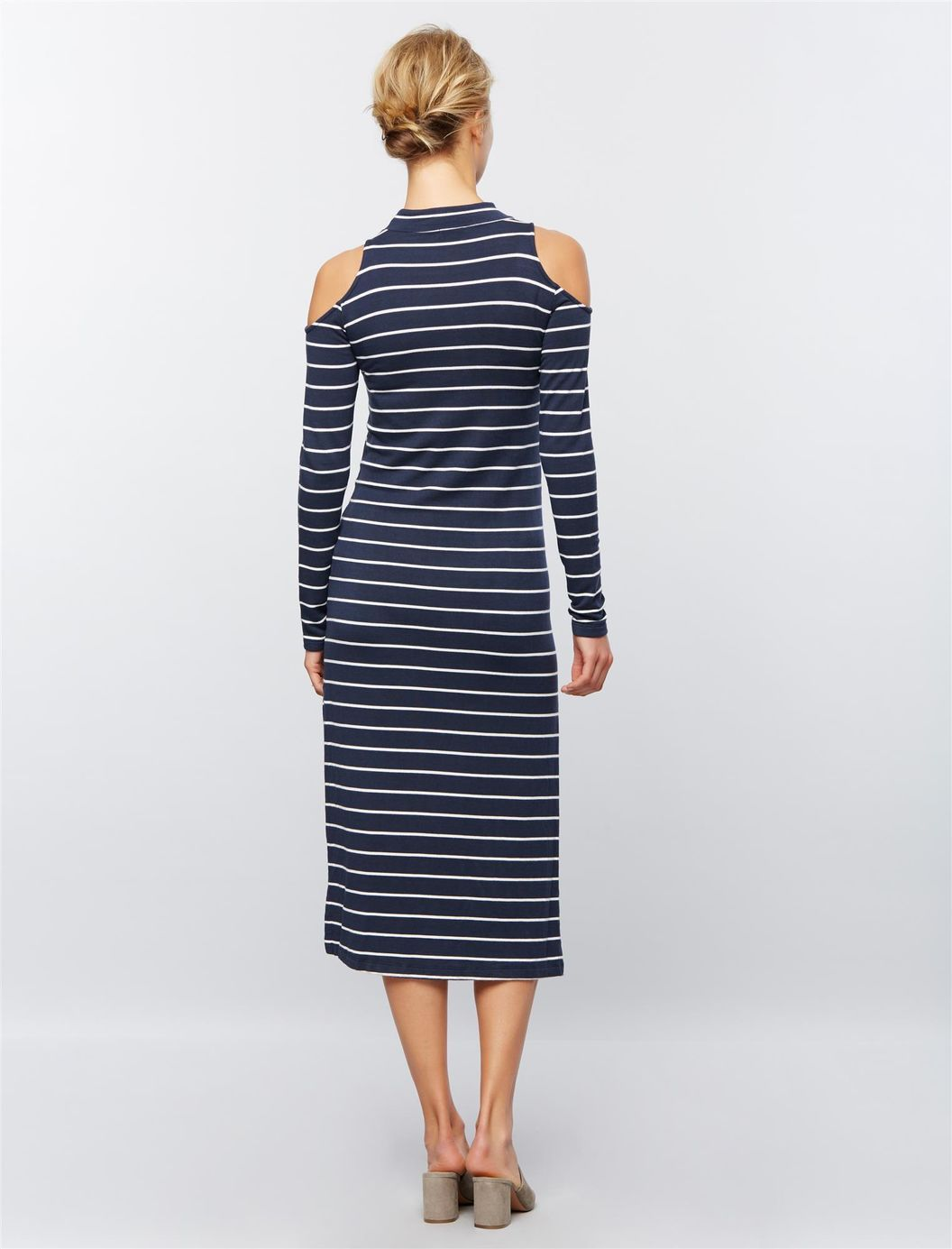 Splendid cold shoulder maternity dress navy stripes ideas
