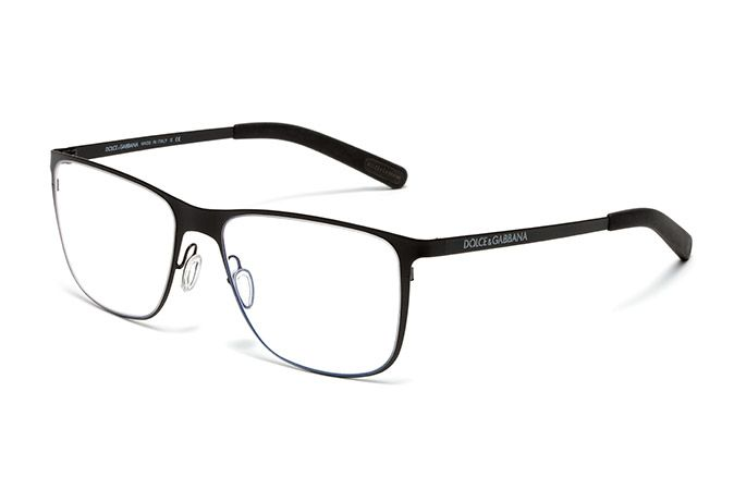 fc7359e0105 Men s matte black metal and rubber eyeglasses with squared frame by Dolce    Gabbana dg1254