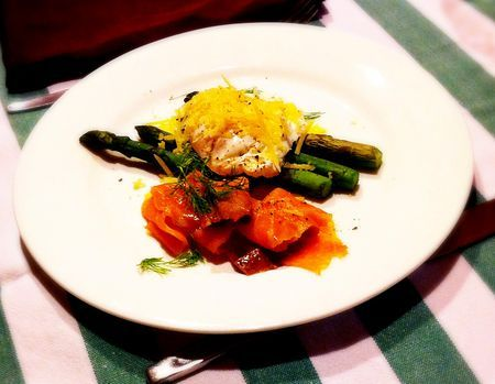 Salmon, asparagus and poached egg with truffle oil, fennel and parmesan