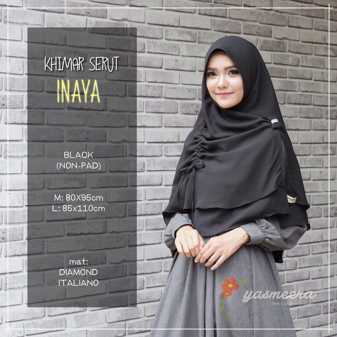 Yasmeera Khimar Serut Inaya Non Pad Black - hijab kerudung khimar