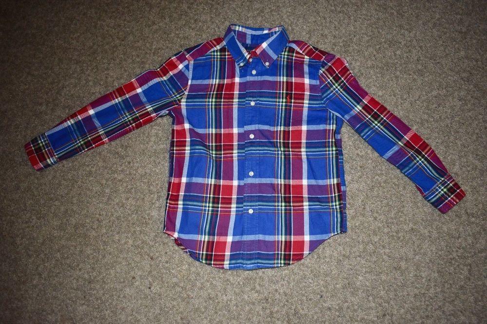 51691a7849 Ralph Lauren Boys Long Sleeve Dress Button Down Plaid Shirt Maroon ...
