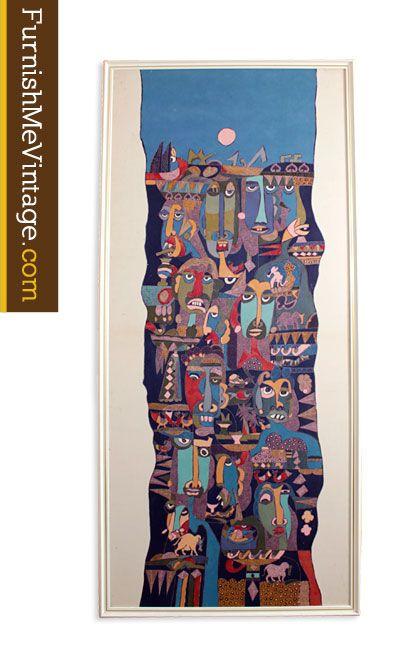 Large Vintage Cubist Modern Art Batik