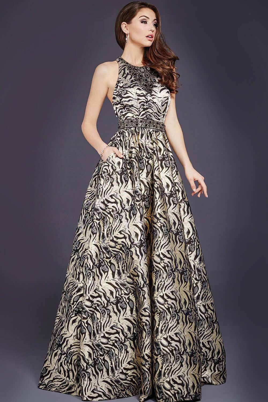 Sleeveless Black Print Ballgown 31518 | my dress | Pinterest ...