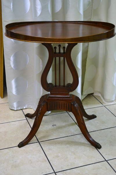 Small Mahogany Harp Table Duncan Phyfe By Mersman