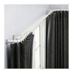 bay window curtain rod kirsch ikea hugad curtain rod combinationbay window the corners can be adjusted to fit different angles of your bay windowthe length each curtain