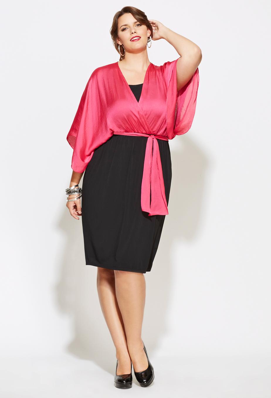 Plus Size Kimono Sleeve Belted Colorblock Dress Plus Size Party