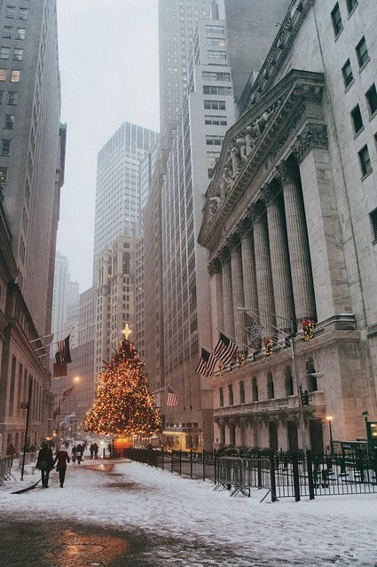 New York Stock Exchange Holiday Tree in the Snow -