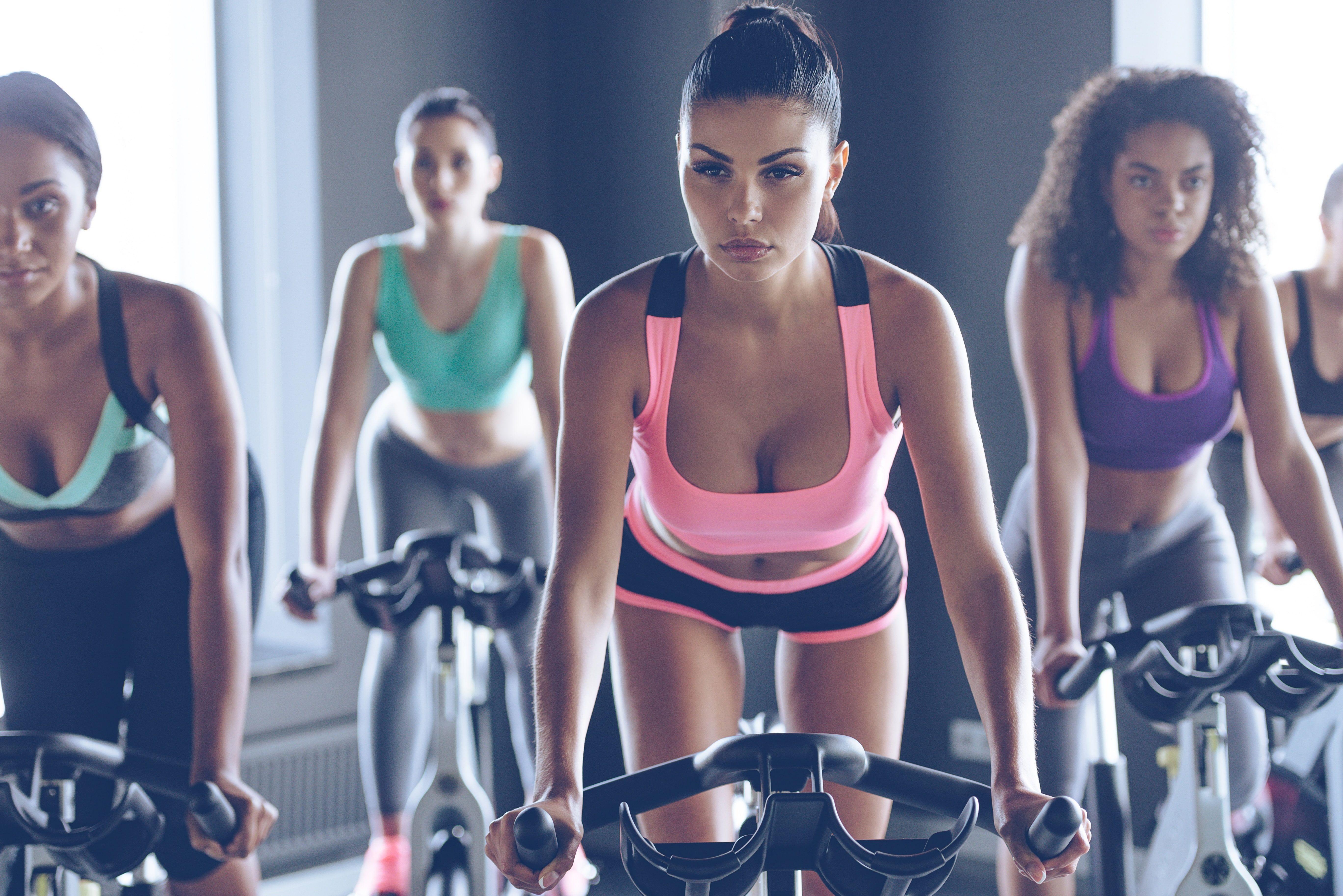 women's pink, teal, and purple sports bras #workout #bikes #Fitness #females #5K #wallpaper #hdwallp...