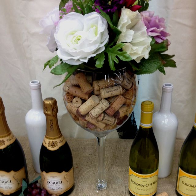 "Flower Arrangements In Wine Bottles: Giant Wine Glass Centerpiece For ""bar"" Table...flowers Too"