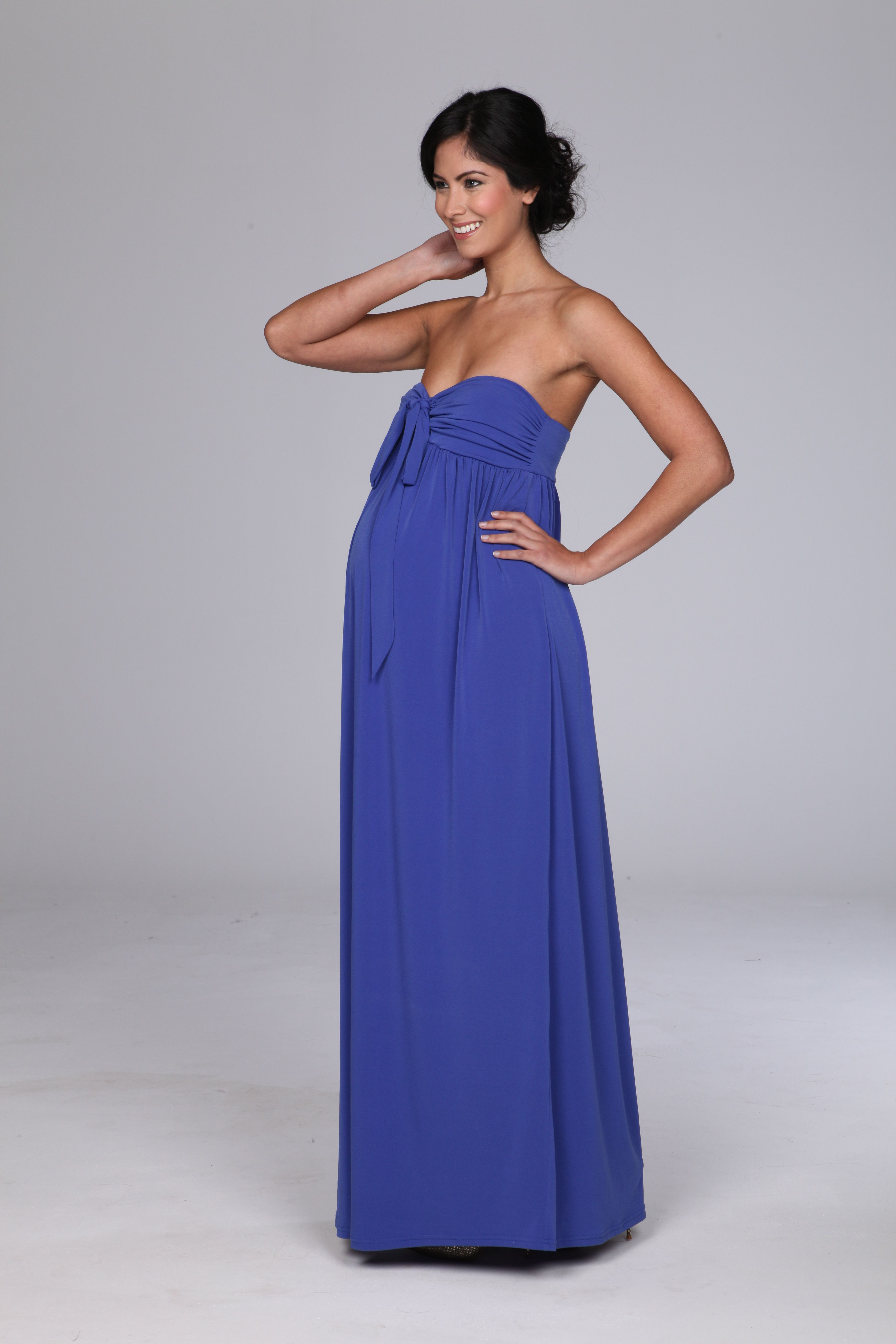 Stunning blue strapless maxi maternity gown black tie maternity by stunning blue strapless maxi maternity gown ombrellifo Choice Image