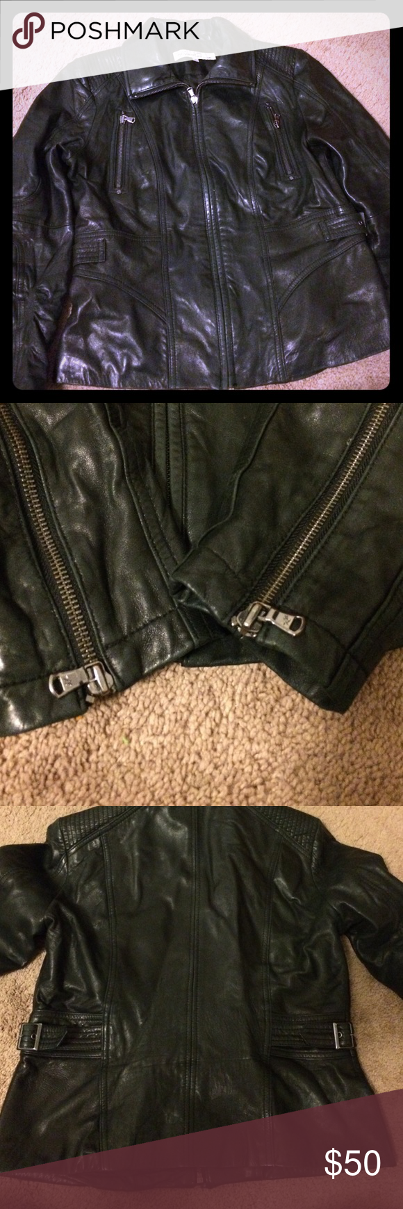 Leather jacket lining polyester and leather Leather jacket black zippers on the top breast  lining zippers on the sleeves cinched waist that buttons zipper in the inside for wallet or whatever you may want to put in it, small deformity on the bottom of the sleeve can be fixed if taken to the cleaners🤗💖💖 Kenneth Cole Jackets & Coats