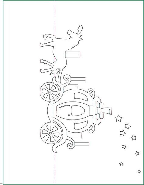 Cinderella Carriage Pop Up Card Free Paper Craft Template