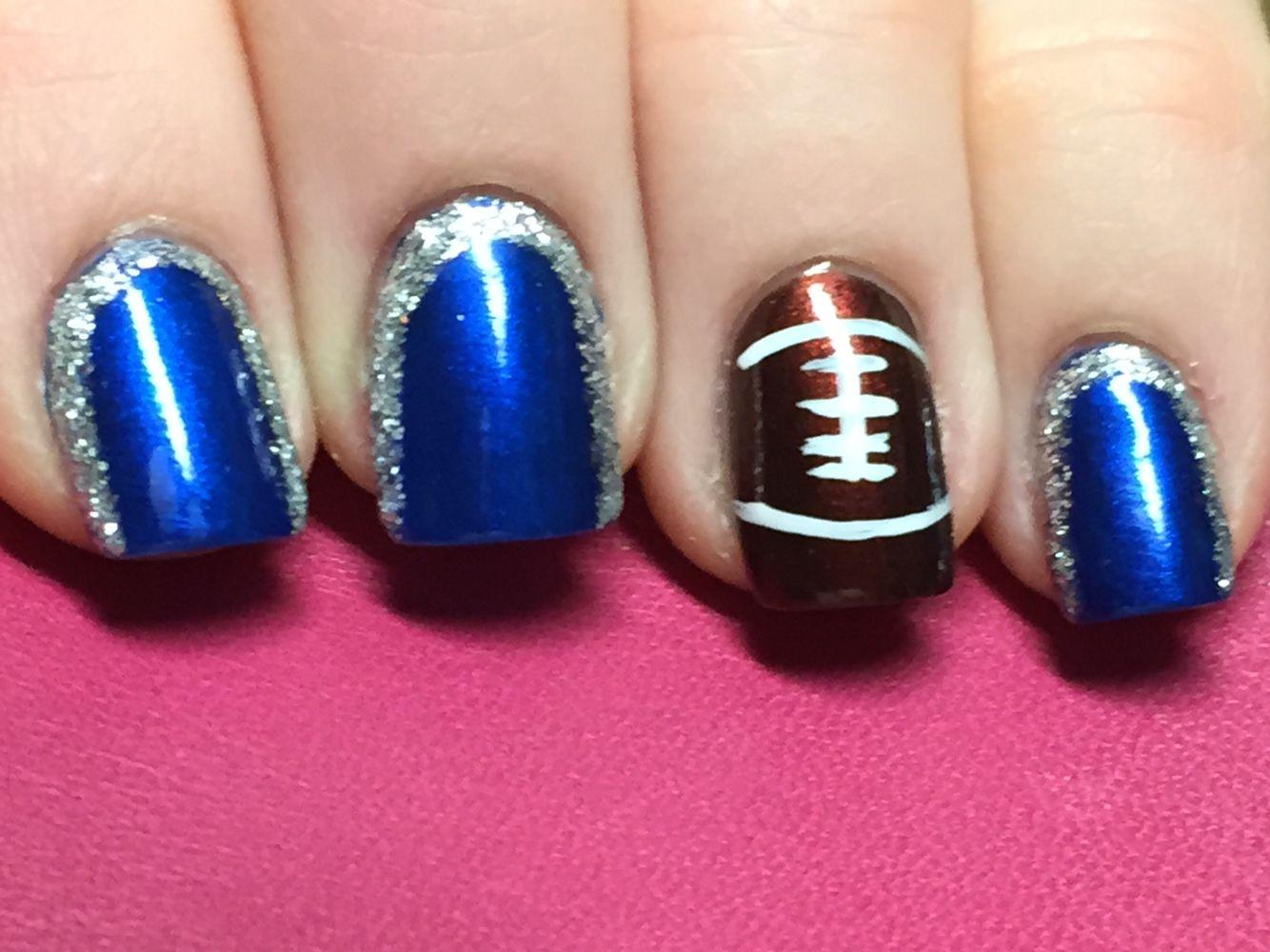Dallas Cowboys Nails - Electric Blue Essie Polish with Silver ...