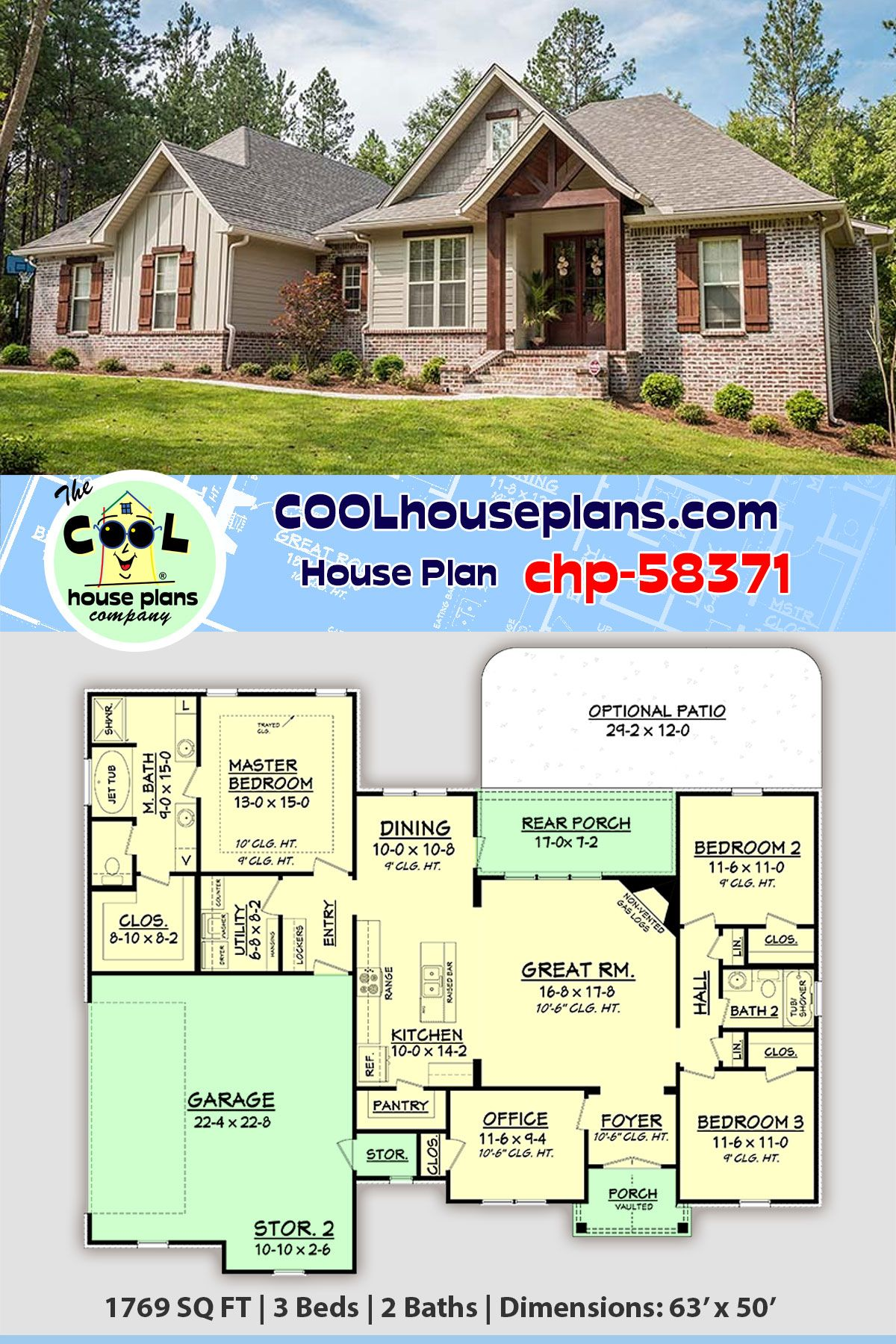 House Plan Chp 58371 Traditional House Plans House Blueprints