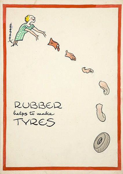 Rubber helps make tyres (artist Cyril Kenneth Bird - 1939-1946)