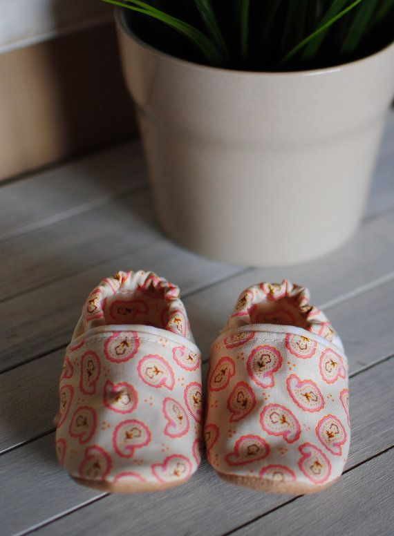 Paisley Baby Shoes Slippers by QuinnleesBoutique on Etsy, $19.00