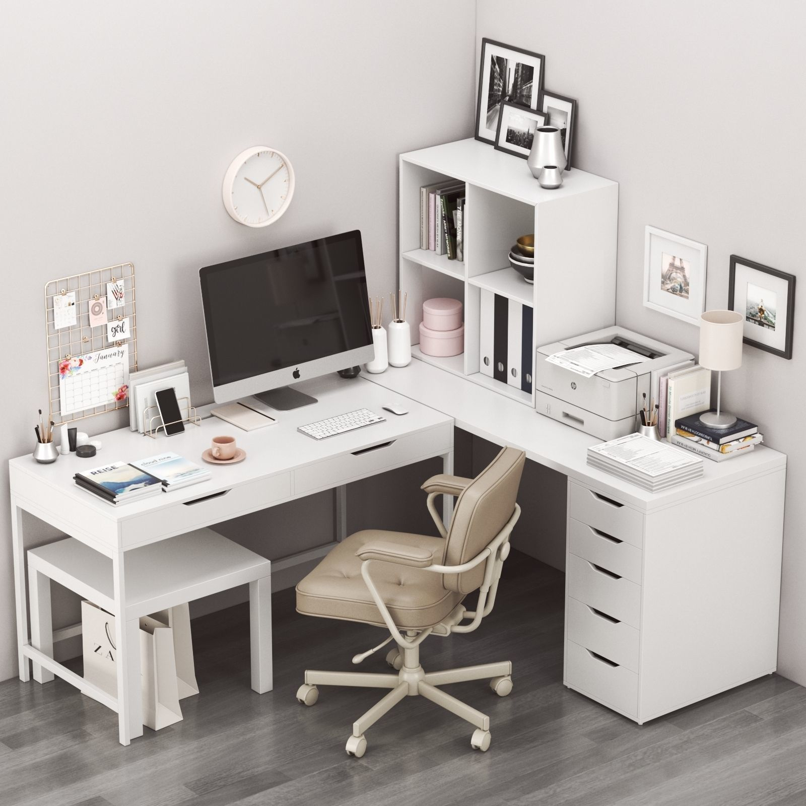 Corner workplace with ALEX table and ALEFJALL chair | 3D model