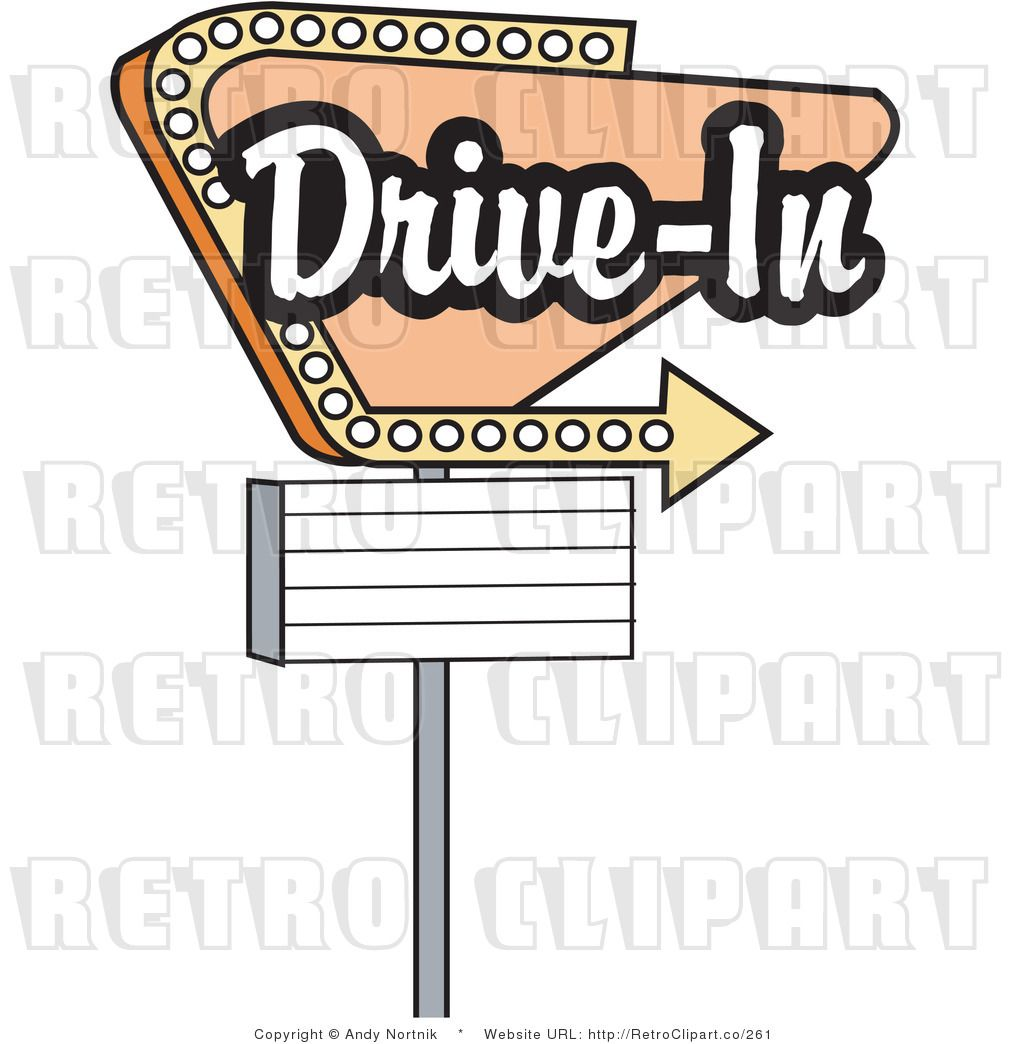 Drive in theater movie signs retro royalty free drive in for Theatre sign clipart