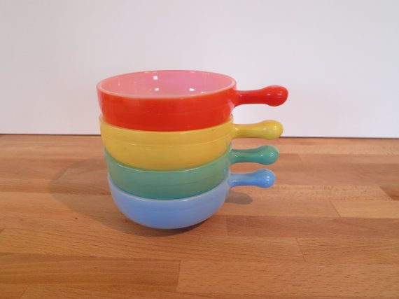 Set of Four Vintage Glasbake Bowls Red Blue Green Yellow | Window ...