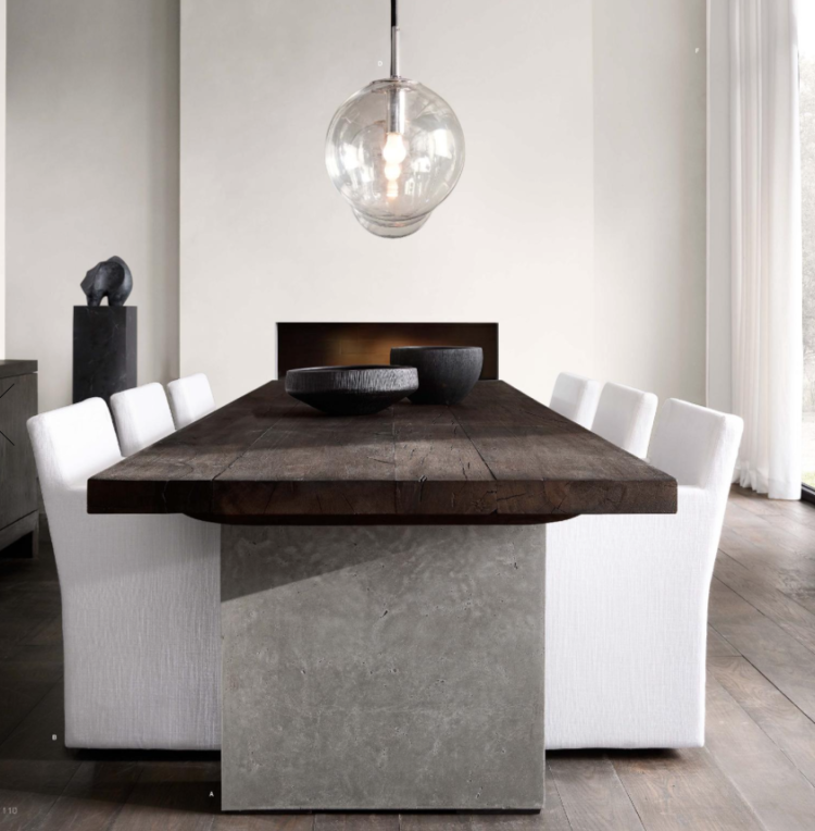 Restoration Hardware Modern Rectangular Dining Table Concrete