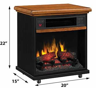 Spencer 20 In 1 000 Sq Ft Oak Portable Fireplace Infrared Heater