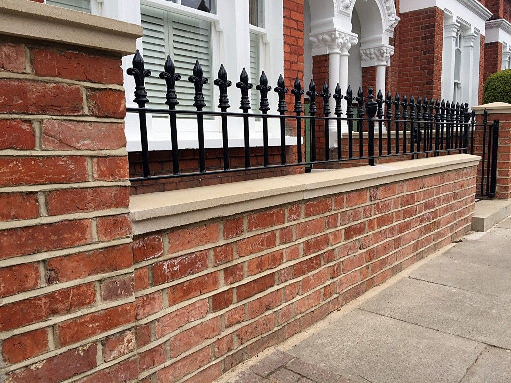 Beautiful garden brick wall fence pinterest walls bricks red brick london wall with stone effect caps and solid metal rail clapham amipublicfo Images
