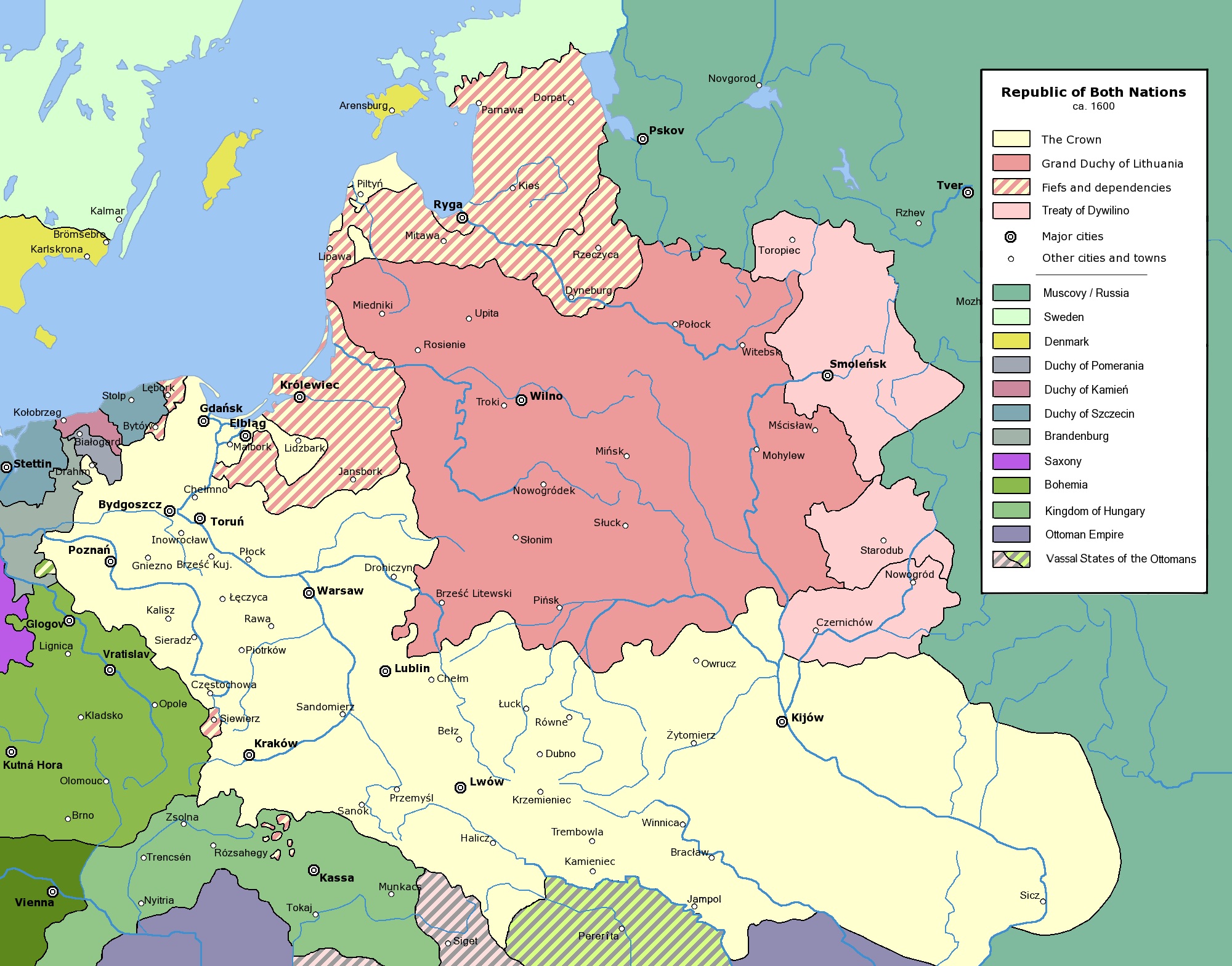 the polish lithuanian commonwealth at its greatest extent ca