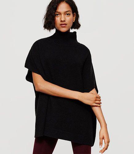 Image of Lou & Grey Funnelneck Poncho Sweater color Black