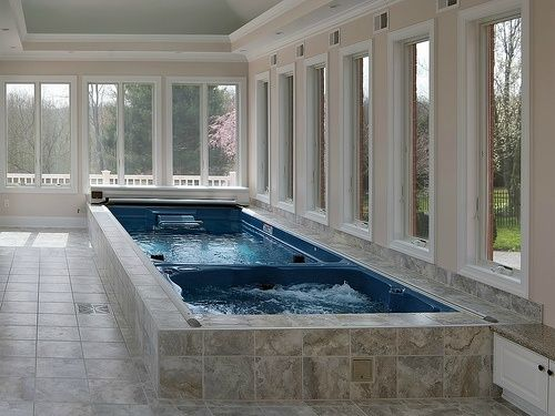 Indoor Swimming Pools - A 19\' Dual Temperature Endless Pool Swim Spa ...