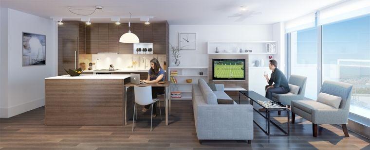moderno arredamento open space cucina e zona soggiorno, pavimento in ...