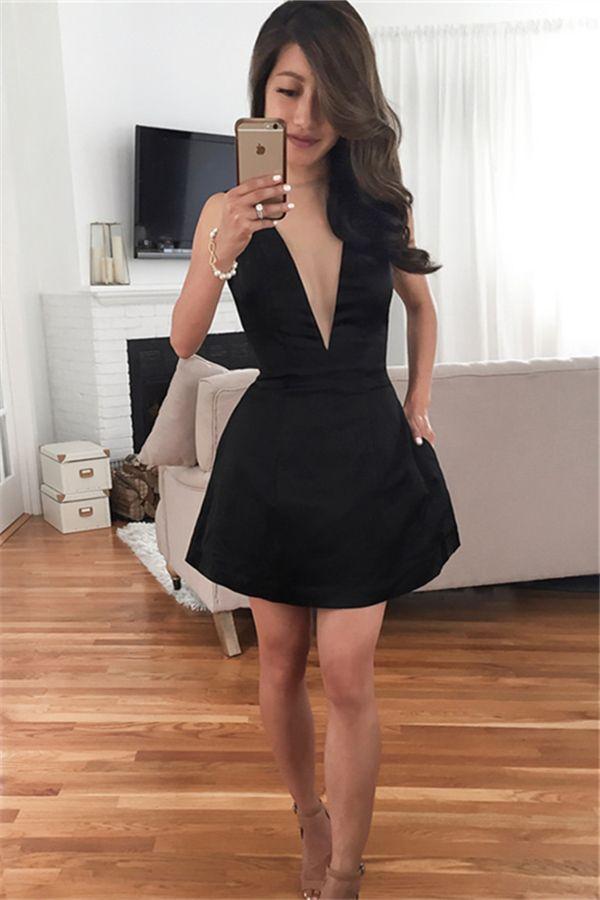 8a758cfbb4b deep v neck party dresses, black simple homecoming dresses, 2017 hoco dress