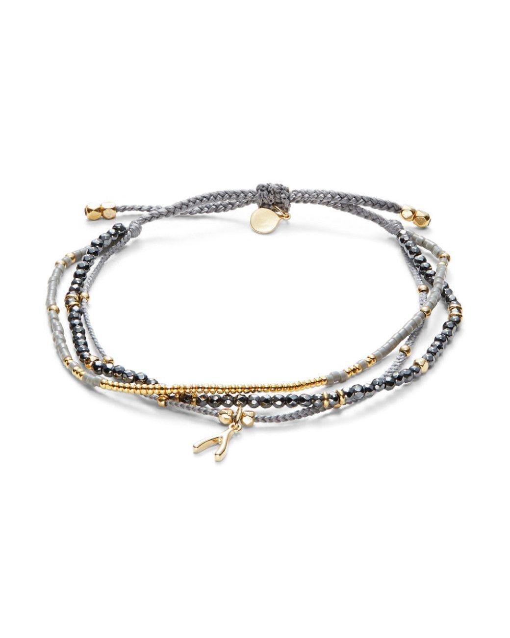 Tai Jewelry Leather Wrap Bracelet with Charms, Gray