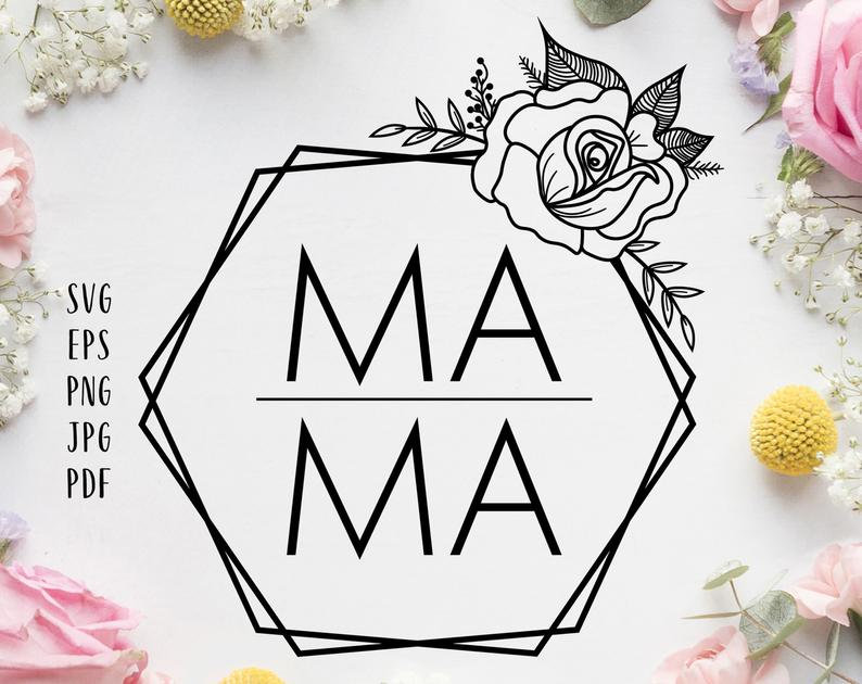 Mama Floral Hexagon Svg Mothers Day Modern Svg Mama Clipart Etsy In 2021 Clip Art Hexagon Hexagon Decor