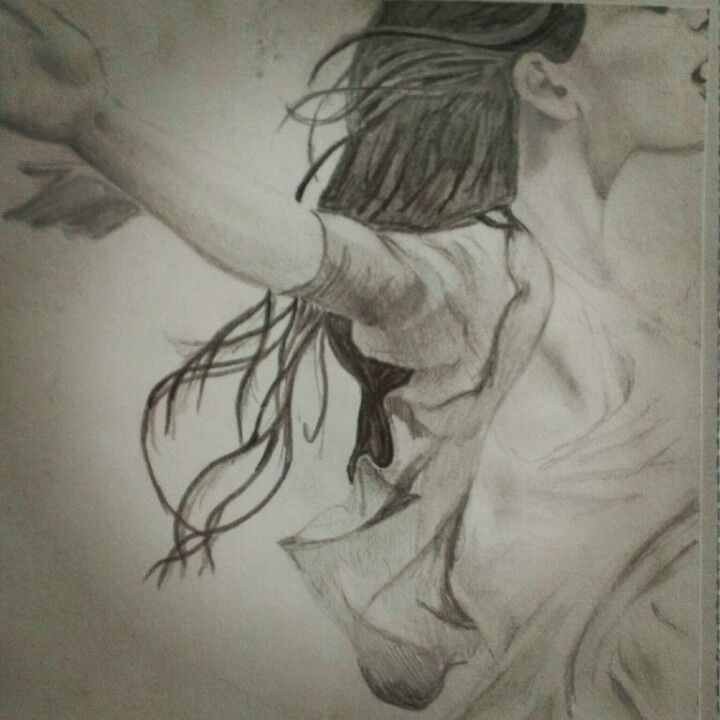 drawing of girl in wind