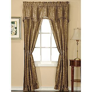 Essential Home Verona Jacquard 5 Piece Window Set- Taupe - KMART