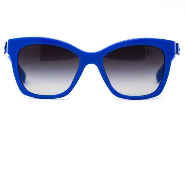 CHANEL Sunglasses Blue CC Logo Pantos Frame with Gray Gradient ...