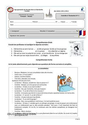 Pour Evaluer Le Vocabulaire Des Maladies Et De La Sante L Imperatif Present Un Dialogue Entre Medecin Et Pati Teaching French French Worksheets Learn French