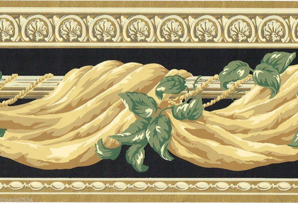 Victorian Gold Black Green Ivy Swag Drapery Valance Drape Wallpaper Border