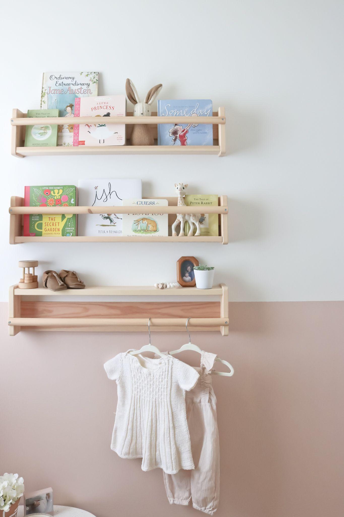 The Nursery Reveal Baby Girl E S New Room Ikea Baby Nursery Shelves Nursery Bookshelf