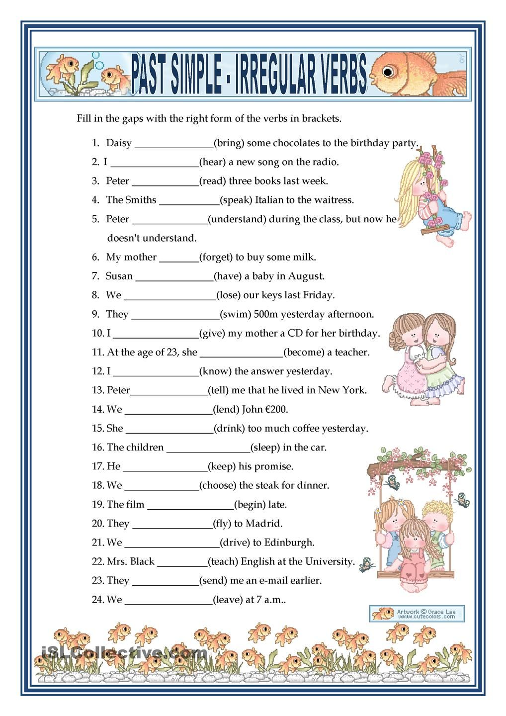 PAST SIMPLE IRREGULAR VERBS FREE ESL worksheets – Free Verb Worksheets