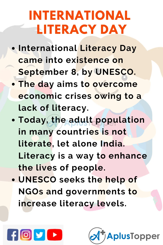 10linesoninternationalliteracyday Aplustoppercom Literacy Day International Literacy Day Literacy
