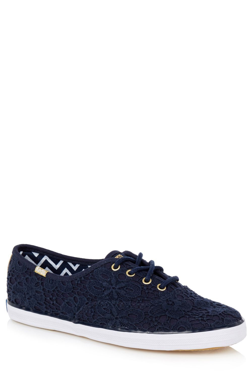 Oasis Crochet Lace Up Trainer, Navy
