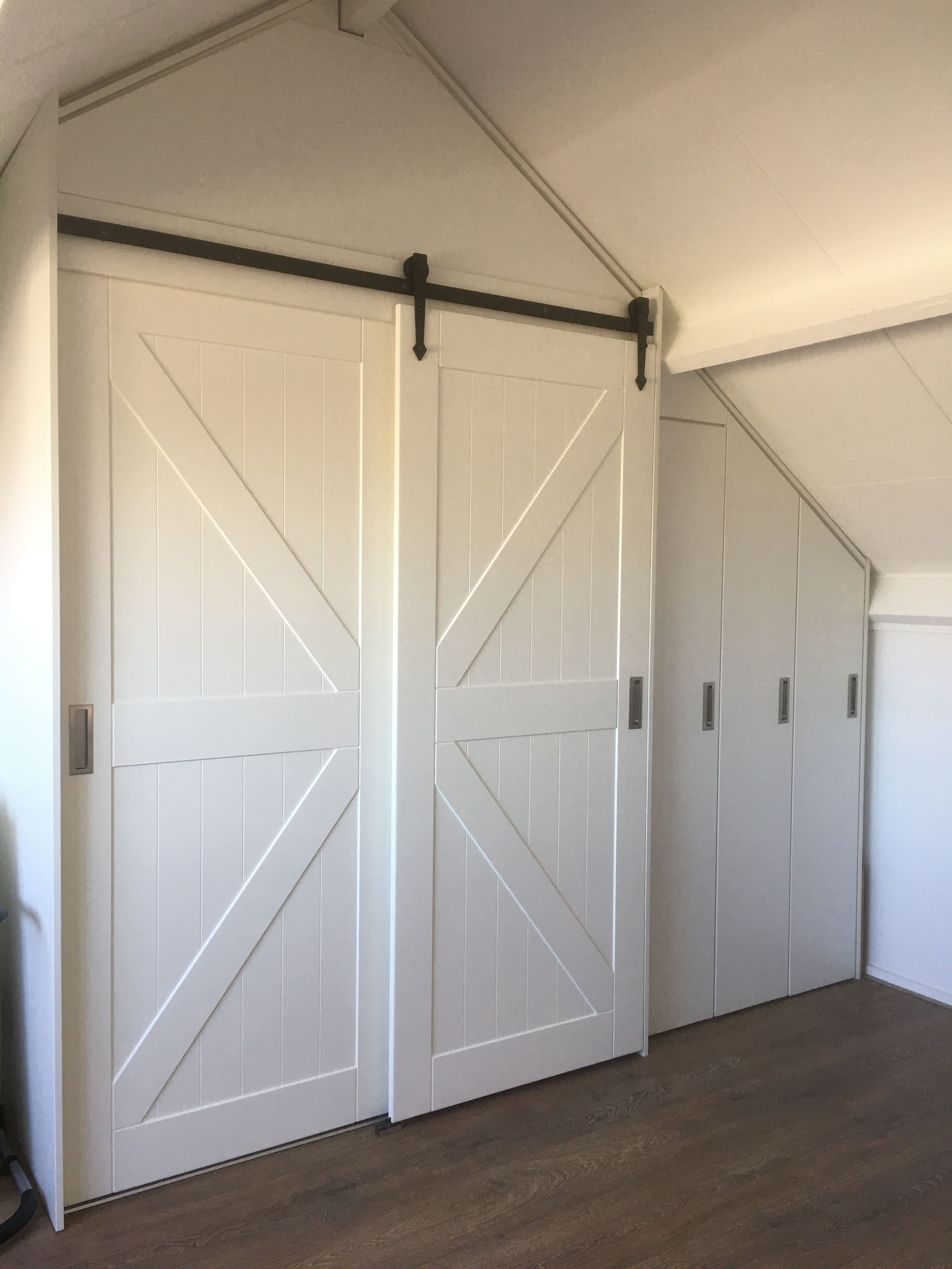 Barn, schuifdeuren, slaapkamer, rail, wit, landelijk, deur, kast ...